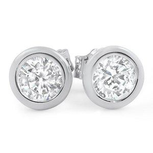 2 carats BEZEL SETTING round diamond stud earring